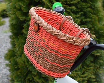 "Bicycle basket children ""Forest Fairy's basket""  Bike basket brown  Wicker basket for Bike  Colored baskets  Gift for cyclist  Bike bag"