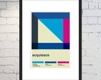 Acquiesce Print / Oasis Fan Art / Swiss Style / Music Print / Framed or Unframed / The Masterplan / Minimal Poster / Rock and Roll Poster