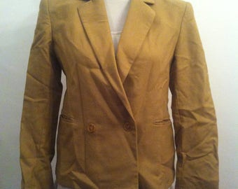 Vintage Braemar by Jeremy Scott Double Breasted Suit Wool Blazer Jacket / Tan / Size 6 (UK 10)