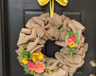 Gerber Flower Burlap Wreath