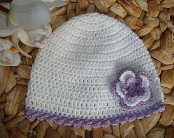 """Baby Summer Hat """"White with Light Lilac"""" - pure cotton - made to order"""