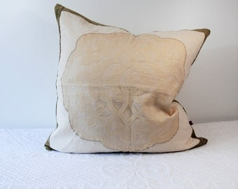 Large cushion cover Antique linen, ivory white, pillow pillow pillow for him, for her, fancy pillow