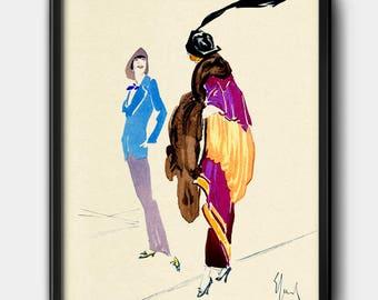 1910s · Instant Download · Fashion · Illustration · Watercolour · Vintage · Paris · Printable #128