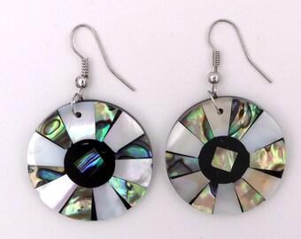 Earrings abalone Pearl / shell / coral / eye of Saint Lucia