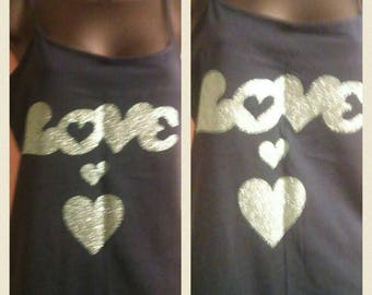 Dark blue tank top/ love and heart