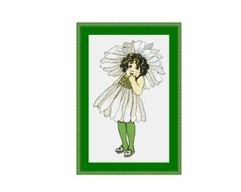 Flower Child - Daisy cross stitch chart, instant download, PDF pattern, digital download