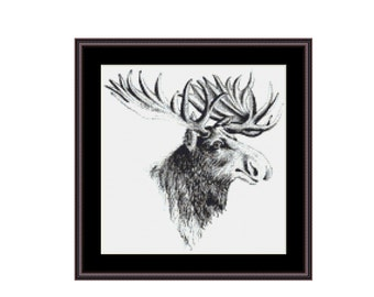 Moose counted cross stitch chart, Moose PDF pattern, instant download, digital download