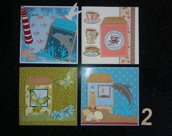 Set of four cards with envelope