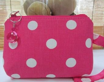 Small Pink/Dots Zipper Coin Purse, Clutch, Wristlet, Pouch