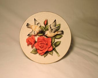 Capodimonte, plate,Fine Bisque Porcelain, Limited Edition, numbered, Chickadees and Roses