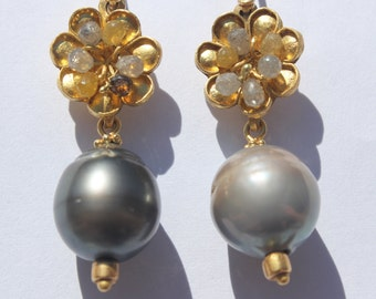 Grey Garden Earrings, solid 22k gold, Tahitian pearls, diamonds, briolettes, designer earrings