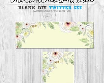 premade twitter set, blank diy social media twitter page set, pre-made floral vintage twitter cover image, twitter header banner flower set