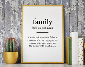Family Definition Poster, Wall Art Print - Printable Download
