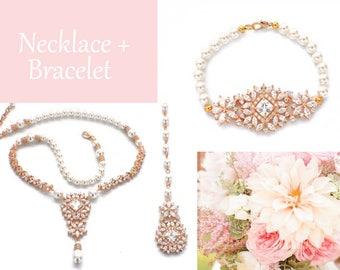 Wedding jewelry set, Gold bridal necklace bracelet, vintage style necklace bracelet, crystal bridal jewelry, rhinestone necklace set