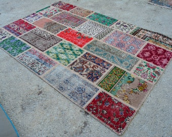5'4 x 8'0 Feet , Vintage Pastel PATCHWORK AREA RUG ,Turkish Natural Faded Rug , No:14
