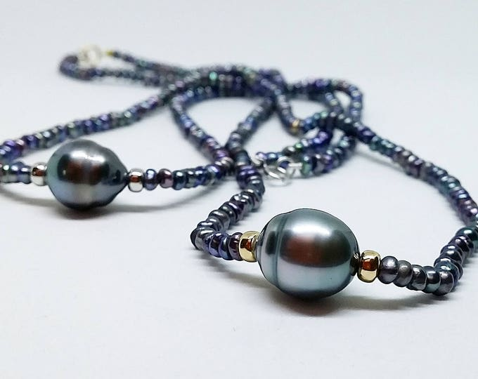 Tahititan pearl necklace with 14ct gold detailing