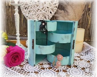 Shabby chic - jewelry box turquoise