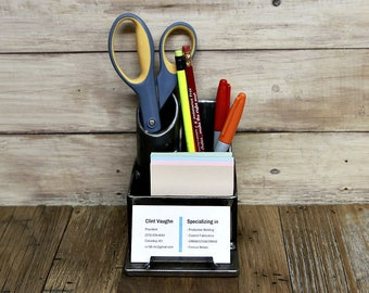 Welded steel desk organizer, pen holder, business card holder, storage, steel, metal, industrial