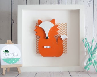 Wooden fox frame, New baby gift, Nursery decor, Personalised gift, Christening gift, Birthday gift, Wooden box frame, Orange fox, Chevron