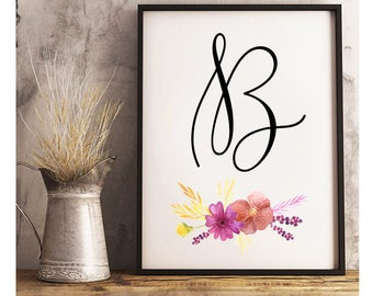 Script Initial With Floral Bough- Digital Print- Wall Art- Digital Designs- Home Decor- Gallery Wall- Quote Prints- Custom Initials
