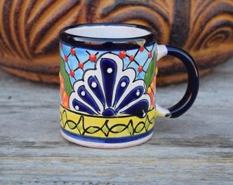 Talavera  Set Of 4 Coffee Cup Hand Painted Hand Made Home Decor Mexican Talavera Ceramic Art