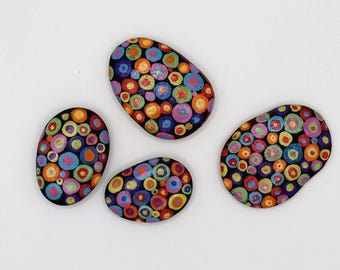 hand painted pebble fridge magnets