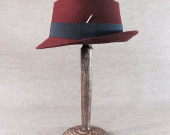 Handmade Red Doeskin Fedora Hat by Tobias Knights Atelier All Sizes