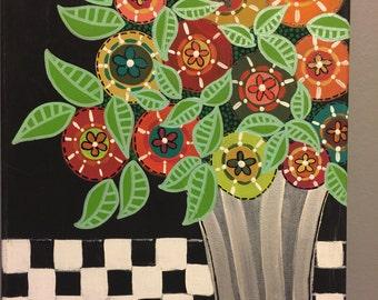 Folk Art Silver Vase of Flowers Painting