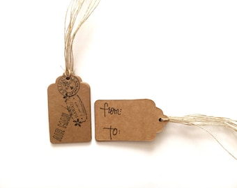 Travel gift tags, paper gift tags, handmade gift tags, stamped gift tags