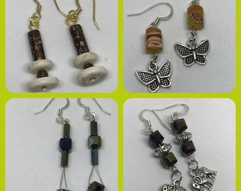 Earrings - Assorted designs (elephant, butterfly) - 4 options