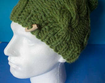 Slouchy cable bobble hat