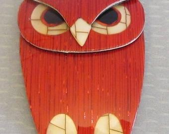 Lea Stein Paris BUBA OWL orange glittery cellulose acetate plastic brooch pin
