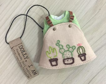 Hand embroidery Cactus  overall for BJD Dolls Lati Yellow/PukiFee bjd | Gardener Series Bib