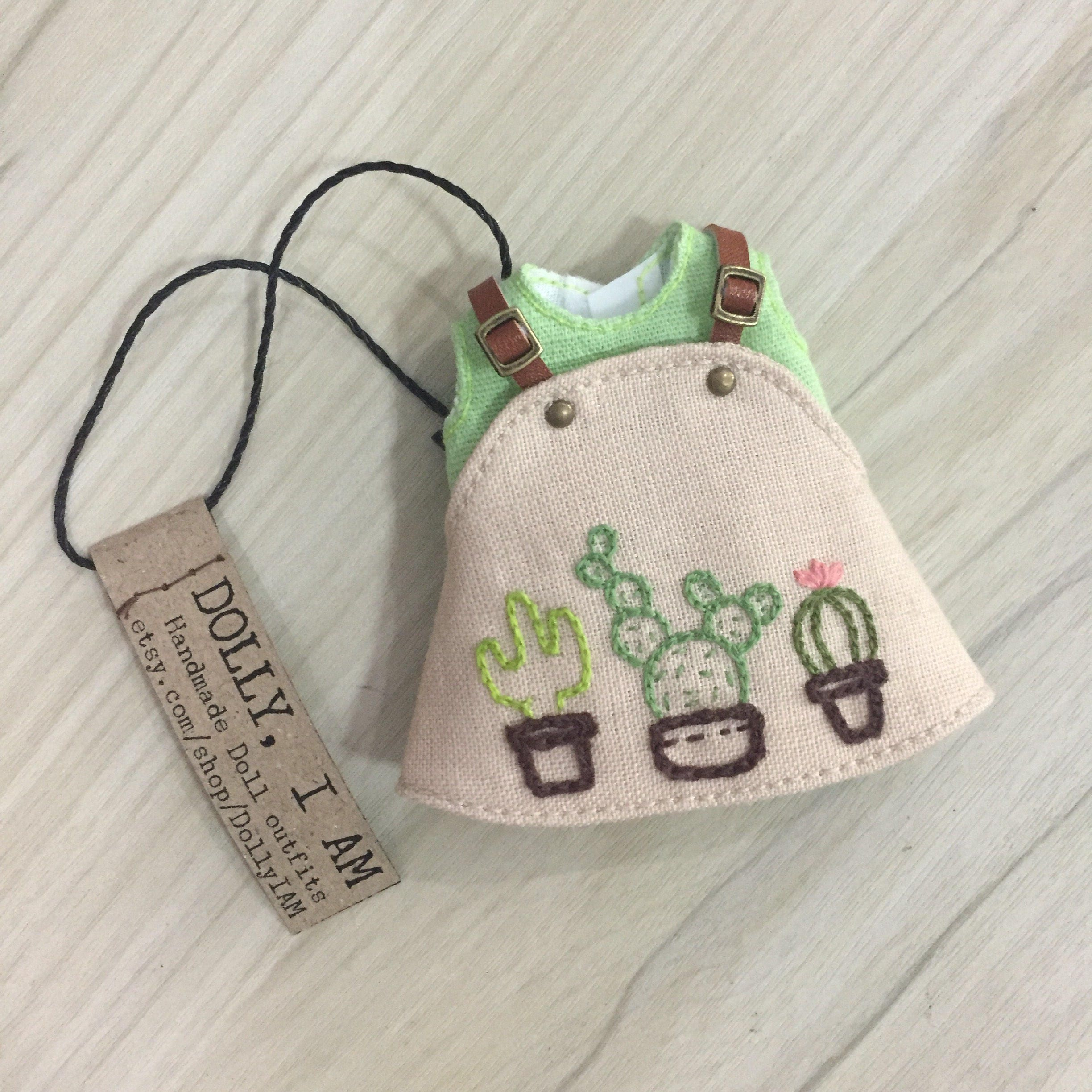 Hand embroidery cactus overall for bjd dolls lati