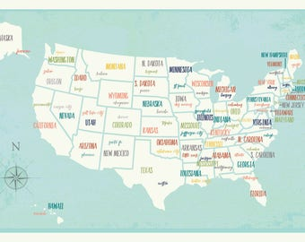 United States Map Digital Download Map Travel Map Usa Map - Us wall map for kids