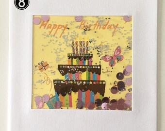 Birthday cake and glitter shaker Birthday card