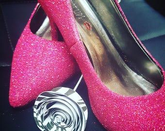 Custom made Pink Glitter Heels
