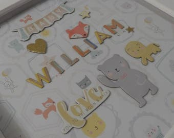 Large box frame personalised with boys name