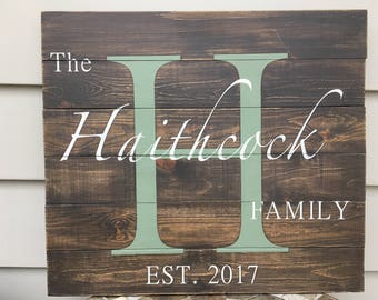 Family Monogram Wood Sign, Wedding Gift, Rustic Decor, Initial Sign, Family Letter Sign, Engagement Gift