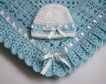 Crochet Baby Blanket and Hat Blue White Satin Ribbon Christening Baptism Granny Square Handmade Crochet Blanket, Baby Girl Set Shower Gift