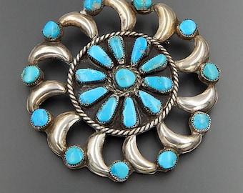 Vintage Zuni Navajo sterling silver turquoise pinwheel large round cluster pin