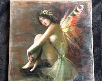 Fairy canvas picture, Vintage style, 30x30 cm