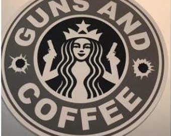 Guns & Coffee Vinyl Sticker