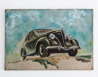 Oil painting of Ford coupe  1940s