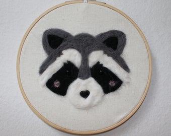 Raccoon Needle Felted Wall Art
