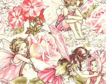 Cicely Mary Barker Flower Fairy Fairies Characters in Roses on Pink 100% Cotton Fabric by Michael Miller - FQ