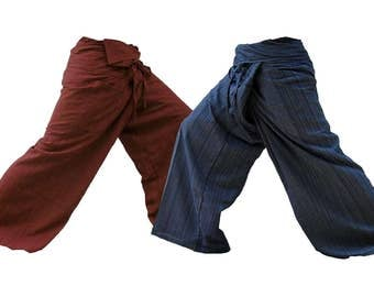 Traditional Thai Fisherman Yoga pants handmade from 100% cotton fabric free size. Pack 2
