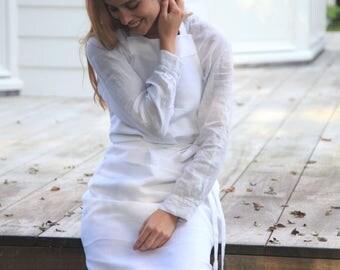 mixed linen-cotton bistro apron, white apron, black apron, gray apron, woman's apron, restaurant's apron, belgian linen