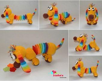 Dog,rainbow,  crochettoy, stuffedtoy, amigurumi, crochet, gift, newborn gift