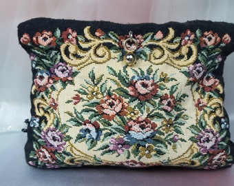Vintage Small Purse, Tapestry, Vintage Tapestry Clutch